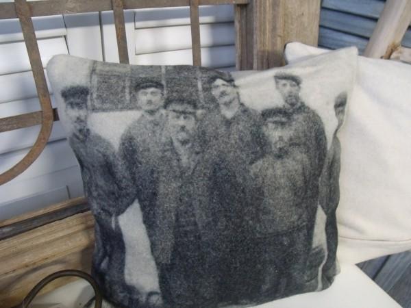 Kissenbezug 50 er FIFTIES oder MALOCHER Grau Creme Nostalgie Vintage Loft Style Wolle