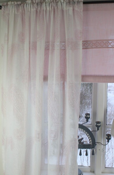 Vorhang SOPHIE ROSA Weiß Offwhite Gardine 140x240 cm 2 Stück