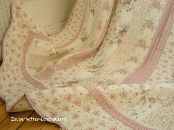Tagesdecke CHRISTINE 230x260 cm Rosa Creme Doppelbett Sofaüberwurf--