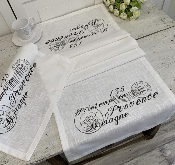 Tischläufer Nice Grau 40 x 140 cm Baumwolle Landhaus Shabby Vintage