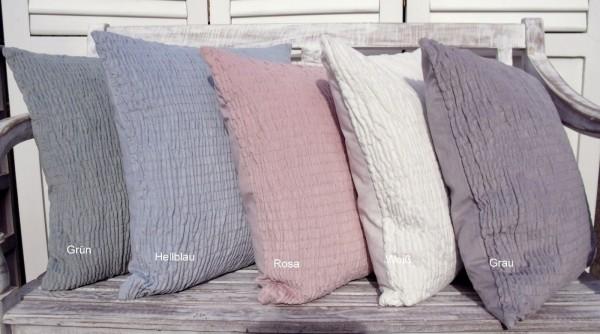 Kissenbezug Valenzia Samt gesmokt 45x45 diverse Farben Shabby Chic Vintage Landhaus Polyester