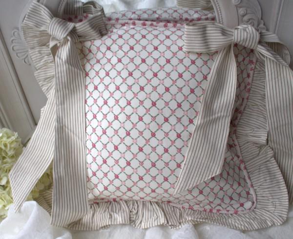 Stuhlkissenbezug NANCY ROSA Weiß 40x40 cm Baumwolle