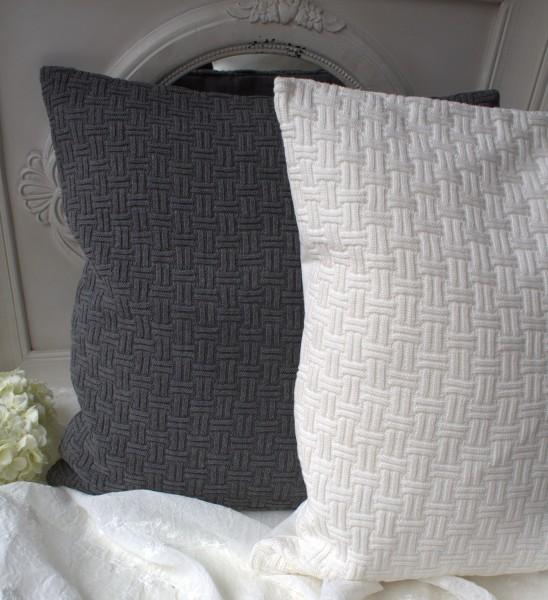 Kissenbezug KARAT grau oder offwhite Strick 50x50 Landhaus Baumwolle