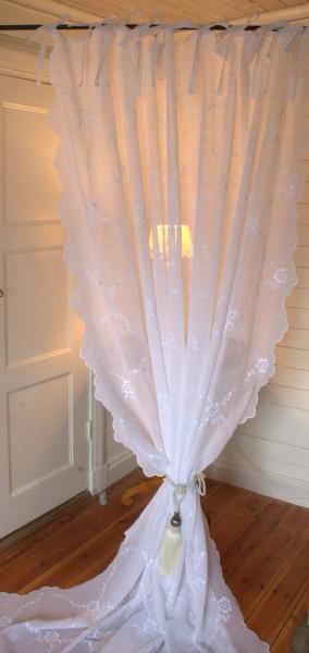 B Ware Weiß Gardinen Schal CHIARA NR 2 Bestickt 200x250 cm Shabby Vintage Landhaus Shabby Vintage