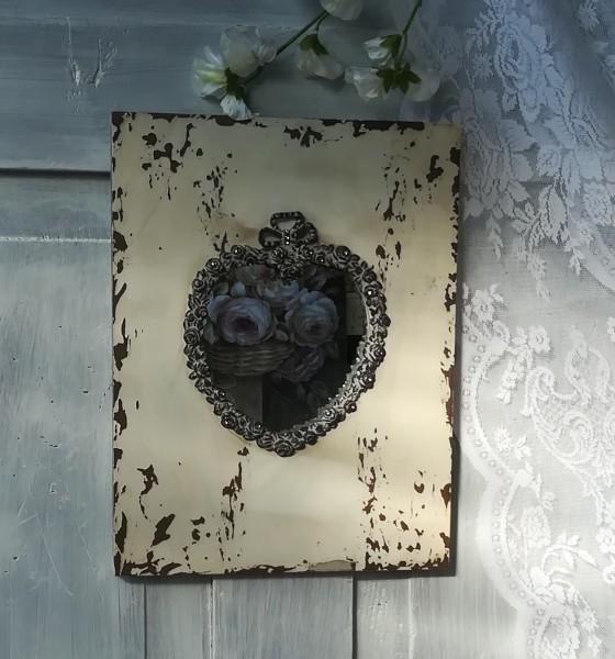 Wandspiegel RELIEFHERZ 30x23cm Shabby creme braun Glitzersteine Foto